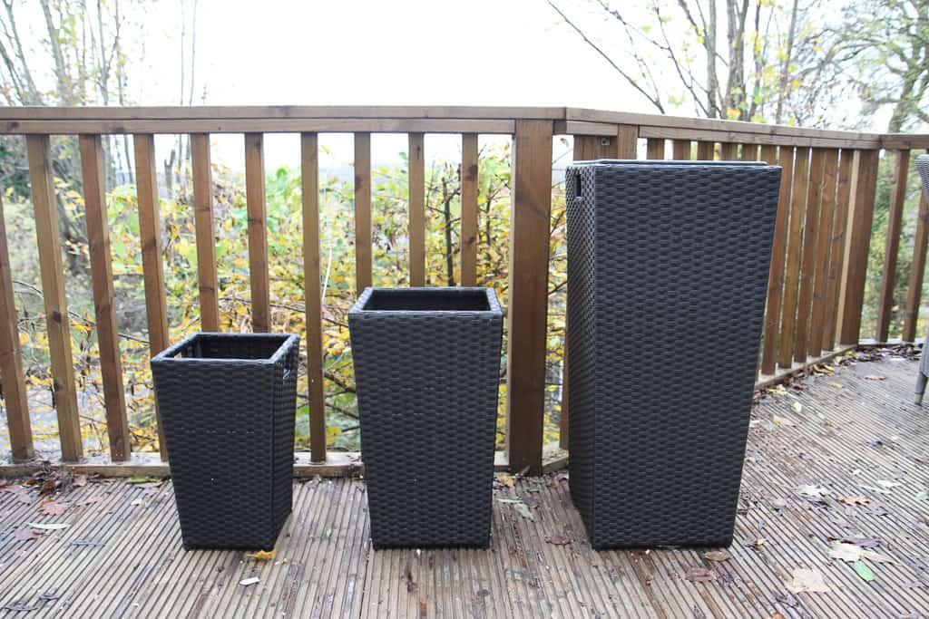 Set of three pots rattan direct