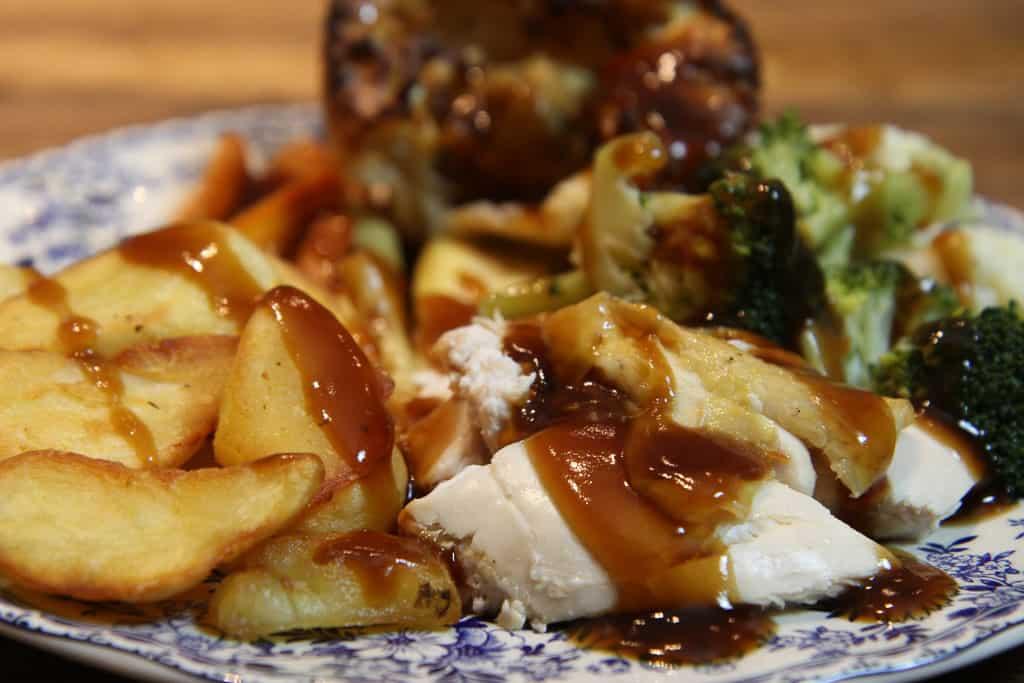 A roast chicken dinner using McCain frozen roasts