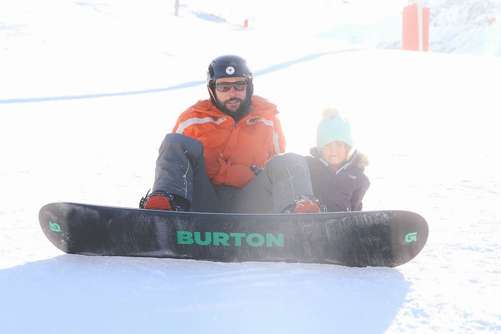 Snowboarding and skiing with children Val d'Isere