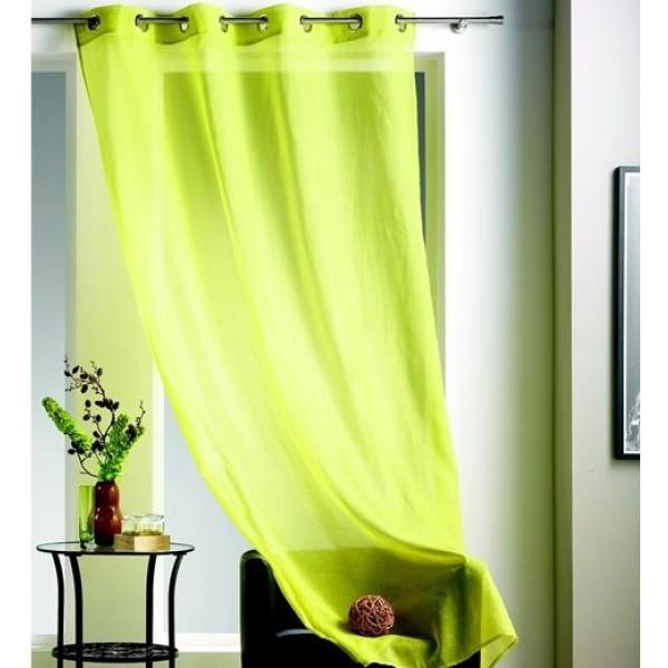 rideau voilage vert anis uni a oeillets