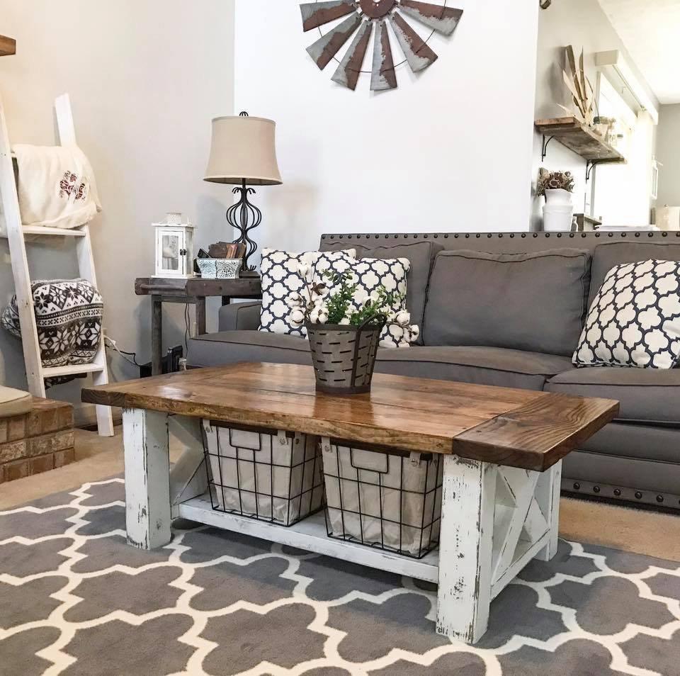 chunky farmhouse coffee table ana white