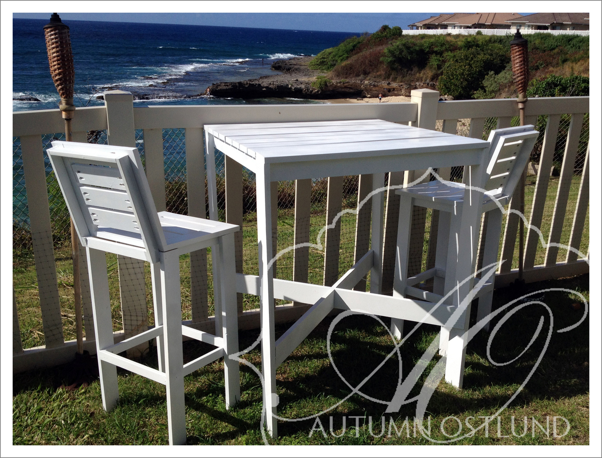Outdoor Bistro Table And Tall Backed Stools Ana White