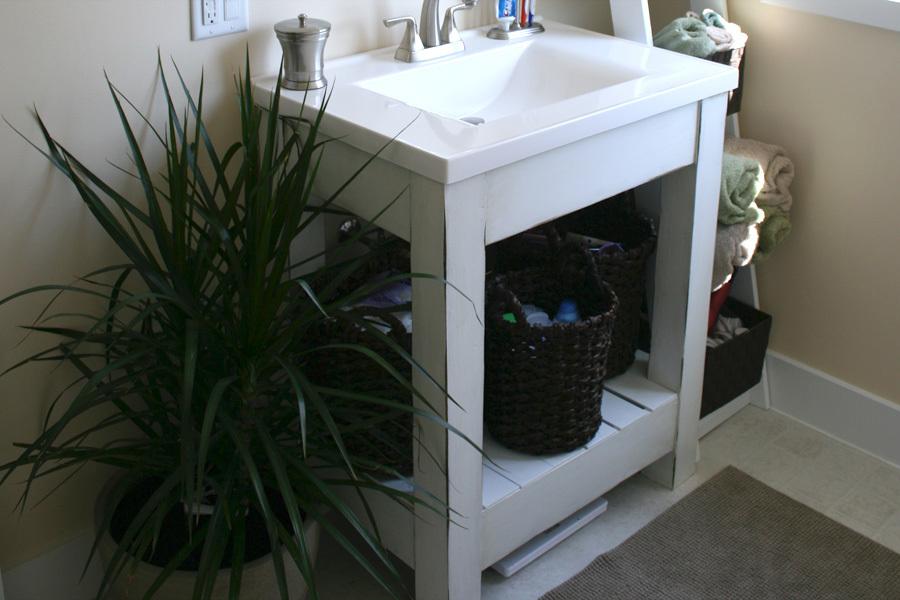 Ana White Farmhouse Style Vanity Base With Slatted Shelf