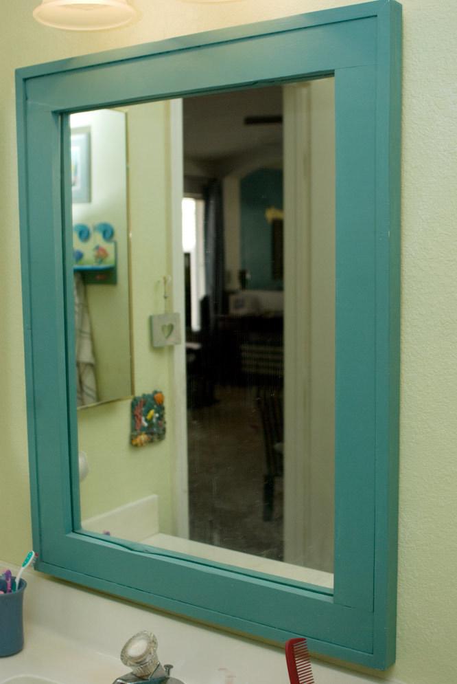 barnwood frame as a vanity mirror ana