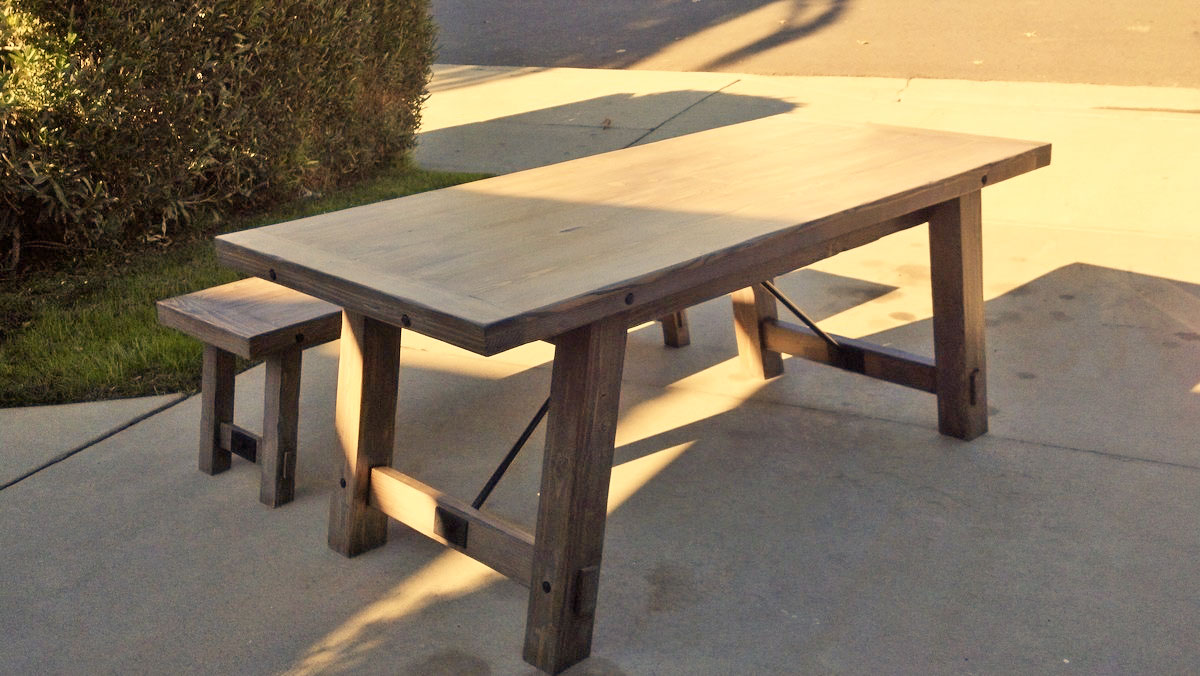 benchright industrial farmhouse table