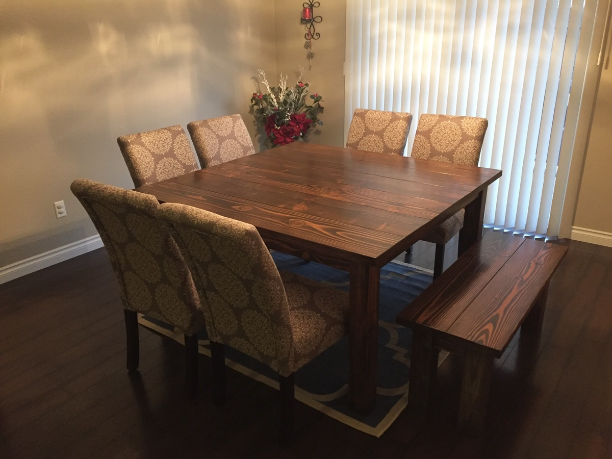 Dark Wood Square Dining Table