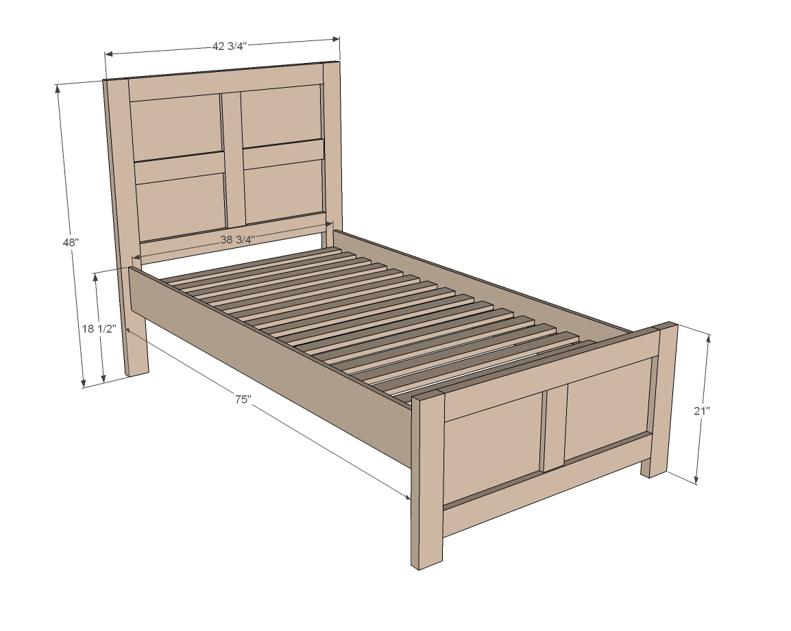 Ana White Emme Twin Bed DIY Projects