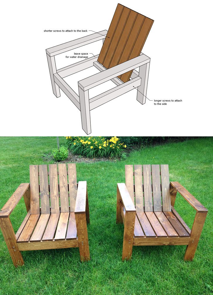 simple modern outdoor chair ana white