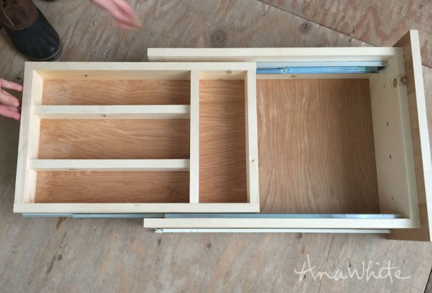 ana white | kitchen drawer organizer - adding a double drawer to