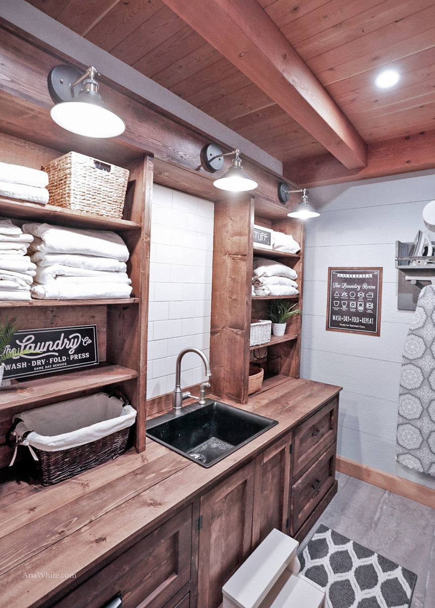 Ana White Rustic Laundry Room Cabinet With Hutch DIY