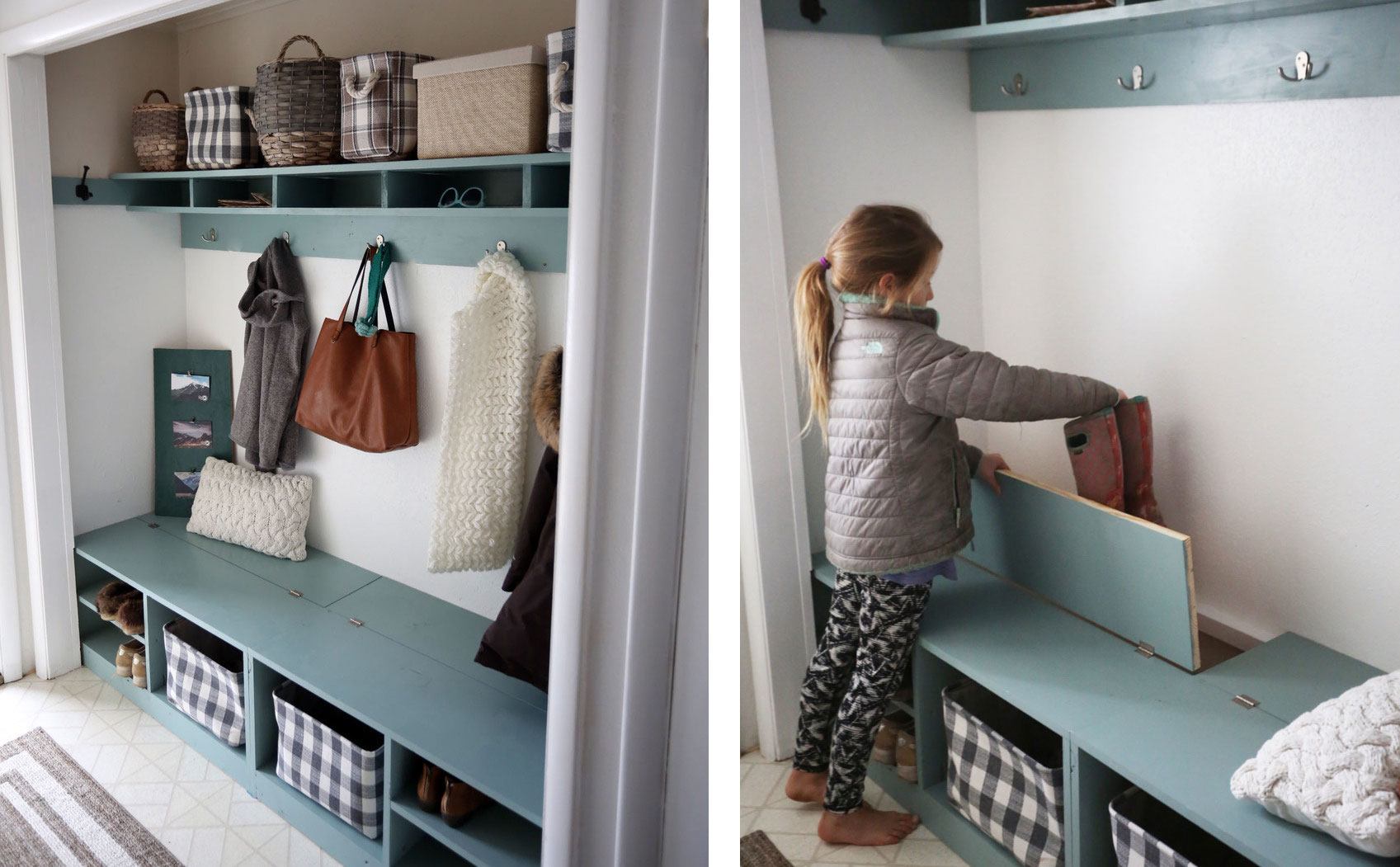 Closet Mudroom Bench With Hinge Up Boot Storage