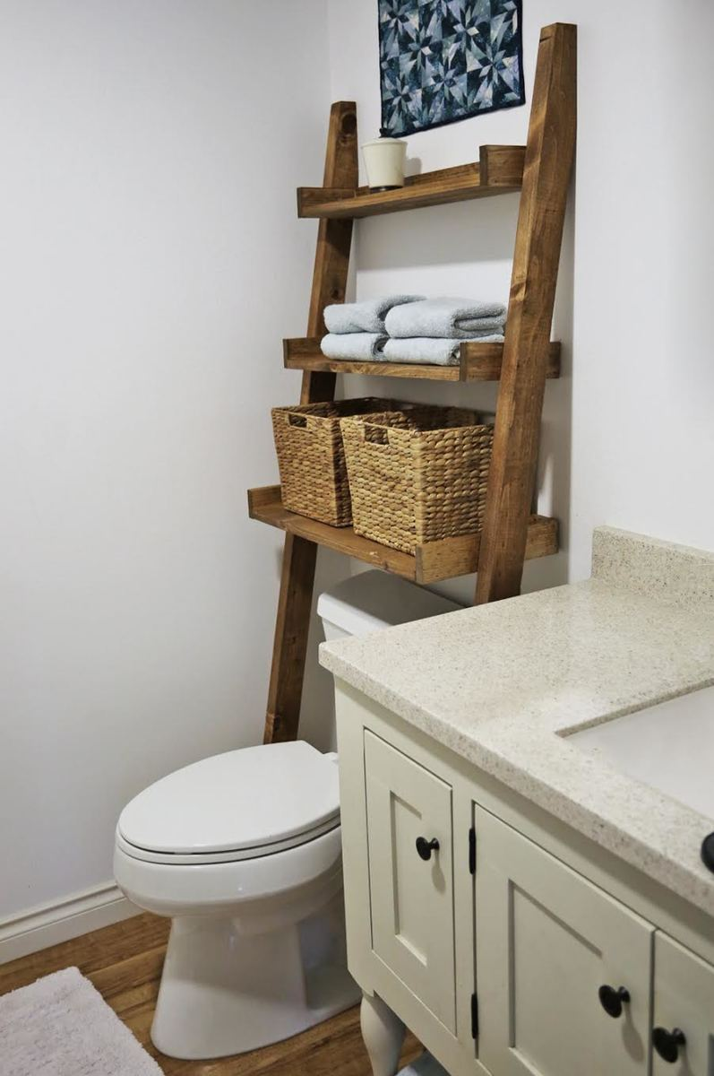 Over The Toilet Storage Leaning Bathroom Ladder Ana White