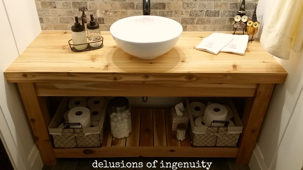 Ana White Guest Bathroom Open Vanity DIY Projects