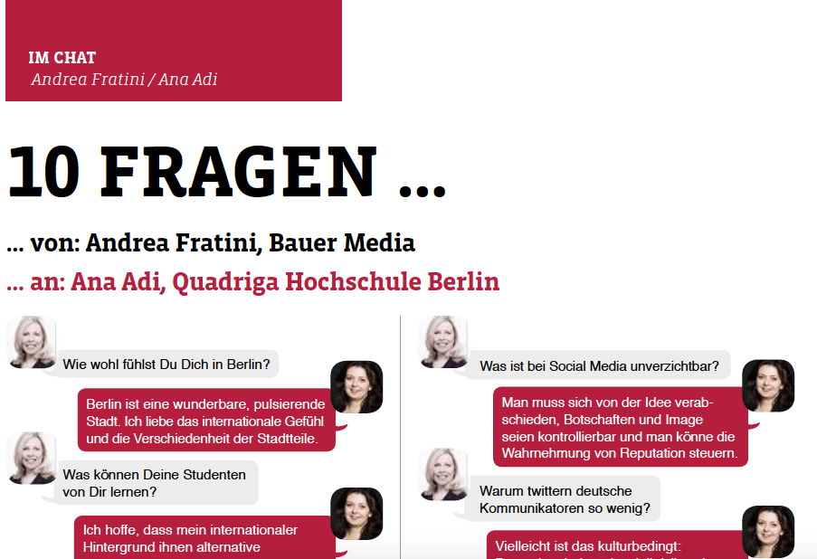 Im Chat – PR Magazin interview with Andrea Fratini
