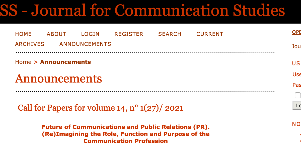 Call for papers: ESSACHESS – Journal of Communication Studies
