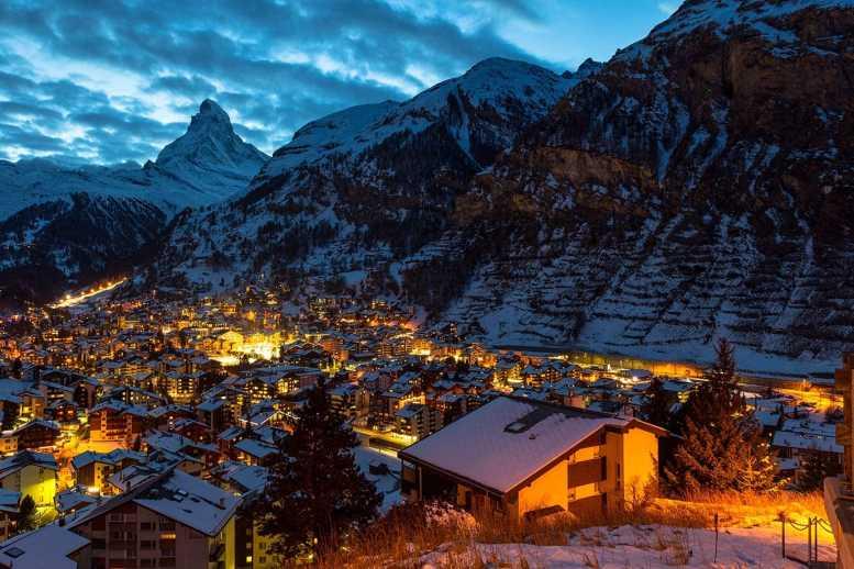 The view of Zermatt at night