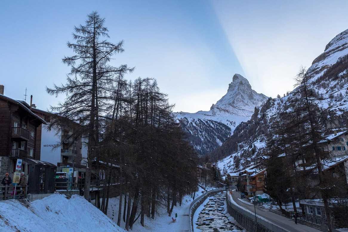 Sunset behind the Matterhorn in Zermatt