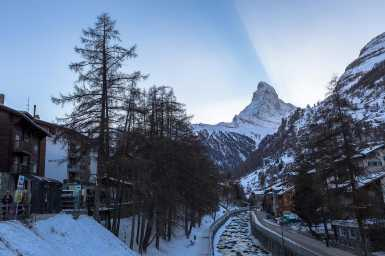 Sunset behind the Matterhorn in Zermatt
