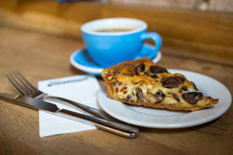 Coffee and a mushroom tart from Fitzbillies
