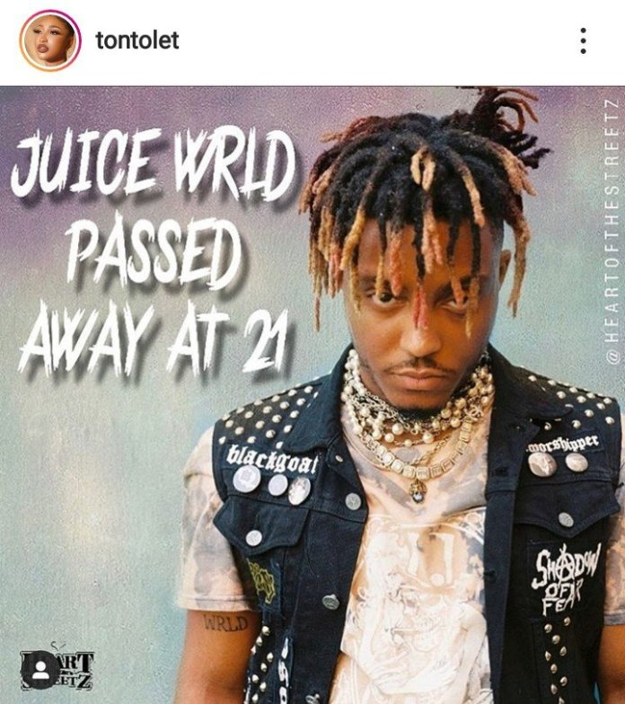 Tonto Dikeh Reacts To Juice Wrld's Death