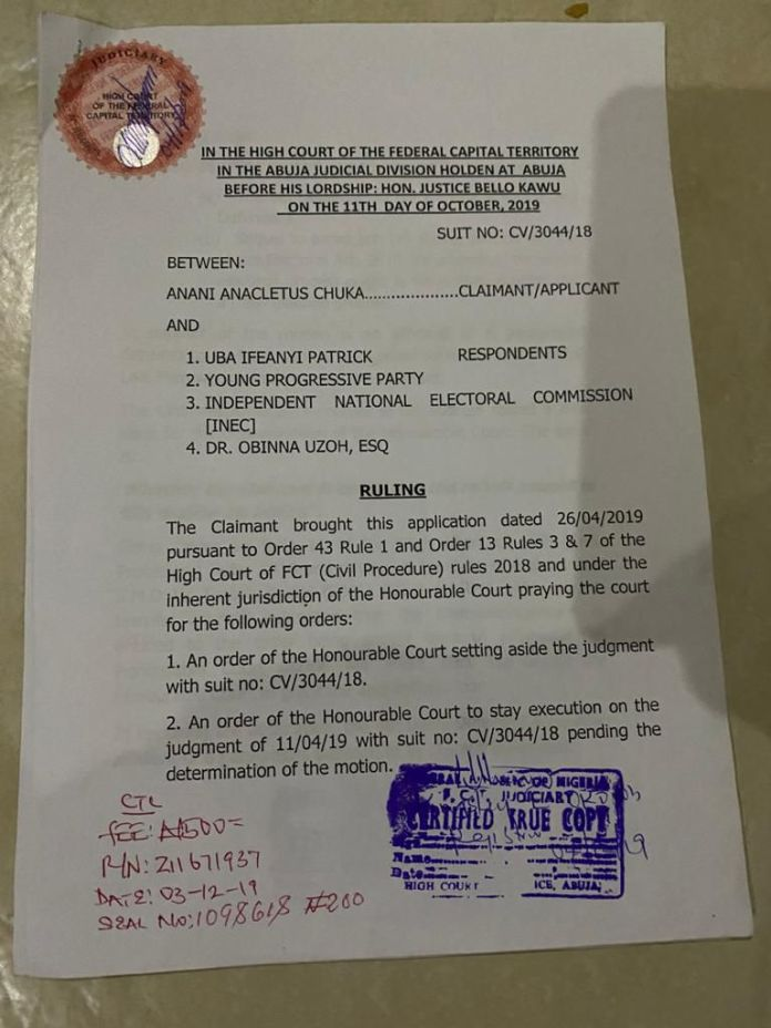 anambra south senatorial anambra south senatorial district independent national electoral commission inec representing anambra south senatorial district south senatorial district Exclusive: Court Disqualifies Ifeanyi Ubah, Orders INEC to issue certificate of return to Obinna Uzoh - Anaedo Online