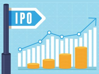 Vector IPO (initial public offering) concept in flat style - investment and strategy icons