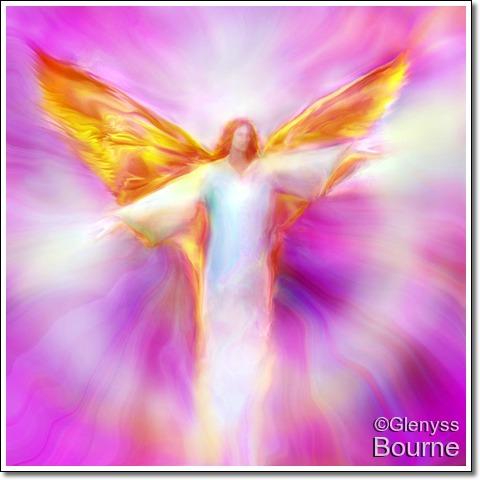 Angel of Light,  Archangel Sandalphon in Flight painting