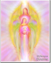 Angel art by Glenyss Bourne- Archangel Michael and Mary