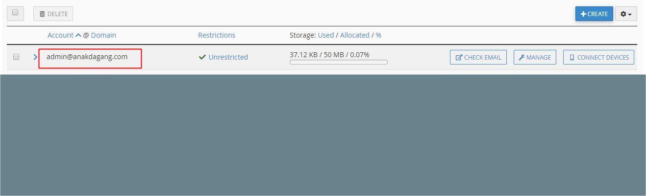 Alamat mail hosting untuk SMTP