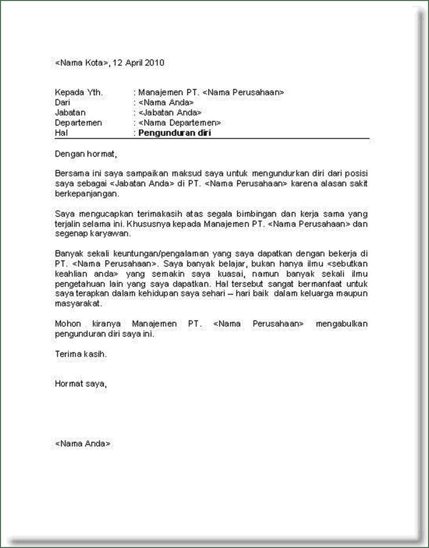 contoh surat resign bahasa inggris untuk hotel surat box