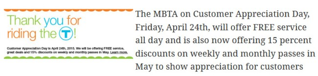 MBTA customer appreciation day