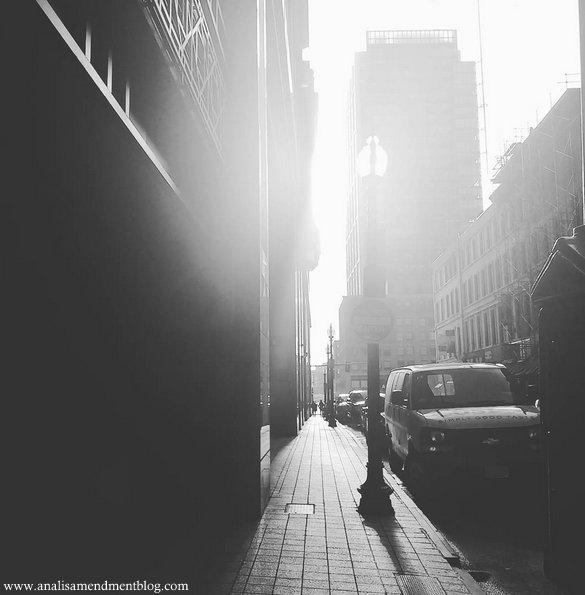 Boston street b+w