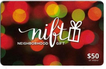 Colorful circles in shades of red, green, orange and yellow, on a Nift Neighborhood gift card.