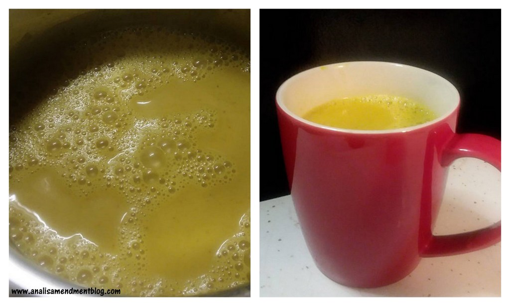 Two picture collage, left photo shows close up of turmeric latte bubbles, right photo shows bright red mug filled with the bright yellow turmeric latte.