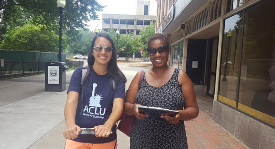 Canvassing with the ACLU in Quincy.
