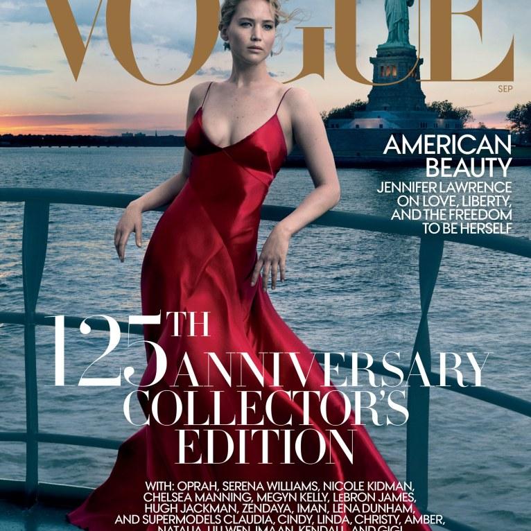 Jennifer Lawrence posa para portada del 125 aniversario de Vogue en septiembre/ Foto: Annie Leibovitz