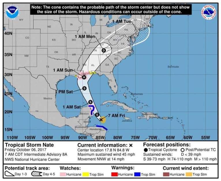 Gráfico cedido por el Centro Nacional de Huracanes (NHC) que muestra la trayectoria de tres días de la tormenta tropical Nate hoy, viernes 6 de octubre de 2017. Nate se dirige hacia la Península de Yucatán (México) y EE.UU. después de que sus lluvias torrenciales dejaran un saldo de al menos 22 muertos en Centroamérica, informó hoy el Centro Nacional de Huracanes (NHC, en inglés). Foto EFE