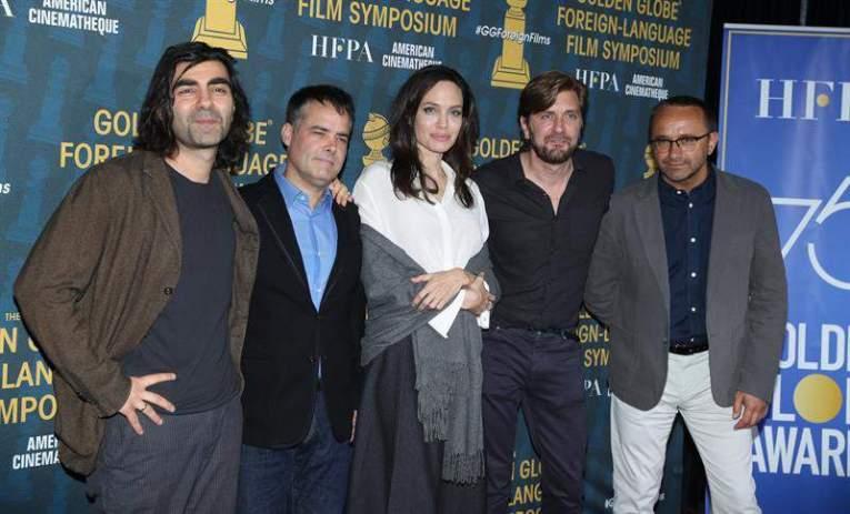 German-Turkish Fatih Akin, Chilean Sebastian Lelio, US Angelina Jolie, Swedish Ruben Ostlund and Russian Andrey Zvyagintsev Foto: EFE