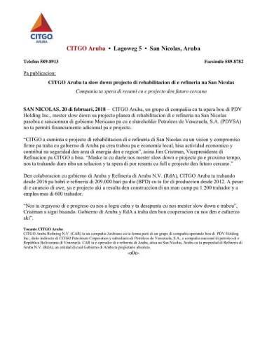 CITGO Aruba anuncia paralización del proyecto de renovación de refinería de San Nicolás 2