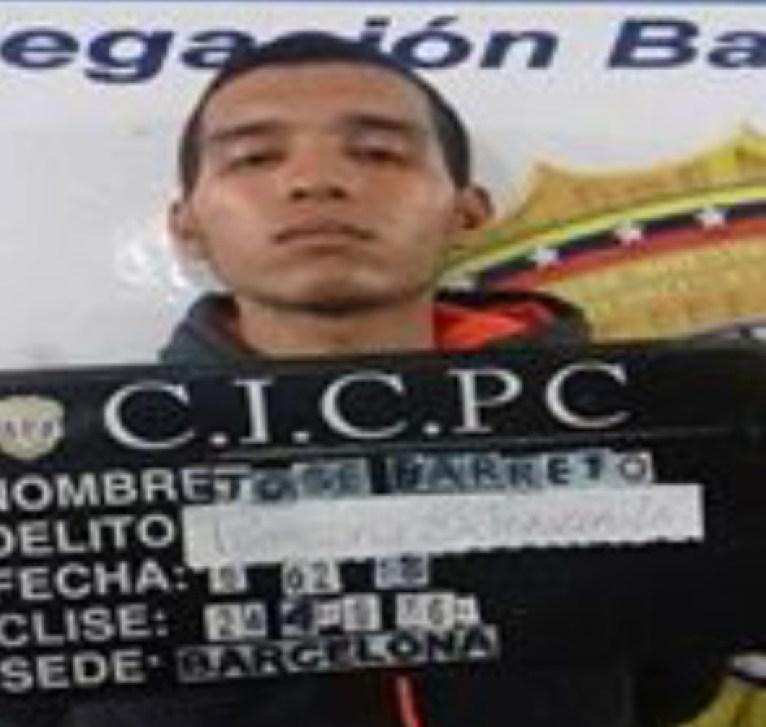 José Javier Barreto Curbata de 22 años de edad