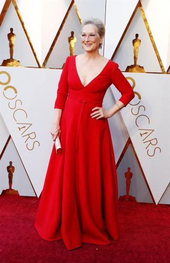 Meryl Streep en la alfombra roja de los Óscar