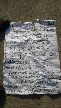 Mutilan a mujer y cuelgan su cabeza en tendido eléctrico de Valencia y dejan cartel de amenaza