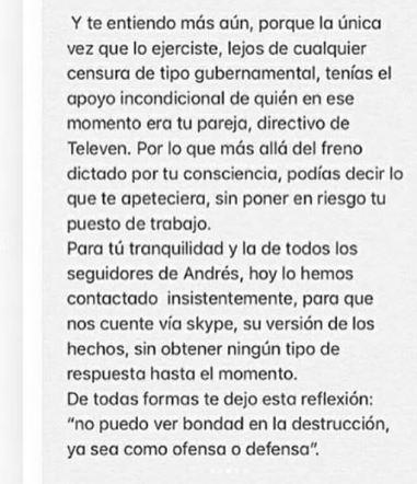 Mensaje de Melisa Rauseo/ Foto: El Farandi