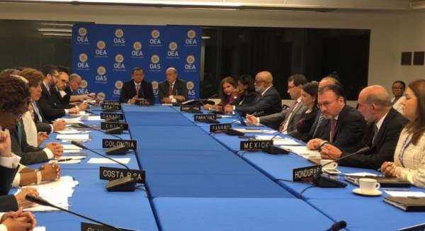 El Grupo de Lima se reunió para consensuar el tono de la resolución sobre la crisis política y social de Venezuela que planea presentar en la Asamblea General de la OEA/ Foto: @SRE_mx