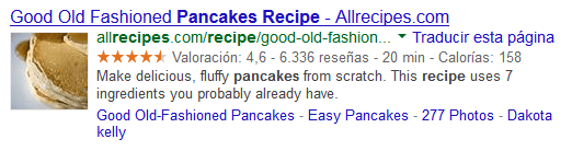 Rich snippet de receta de cocina