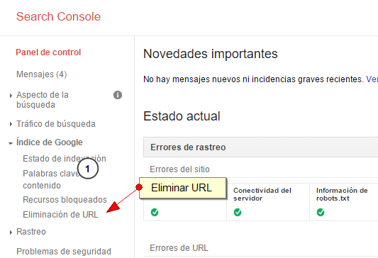 Eliminar URL en Search Console