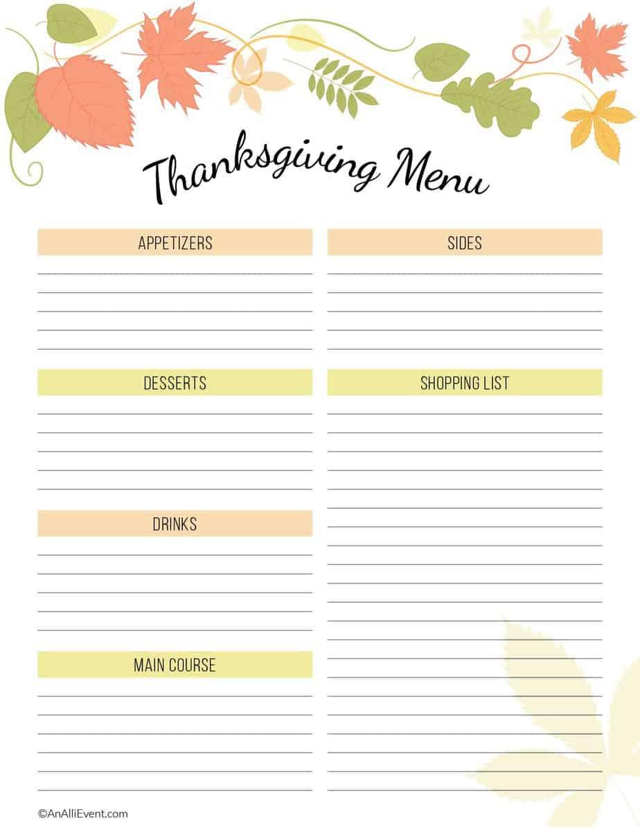 Free Thanksgiving Planner Printable