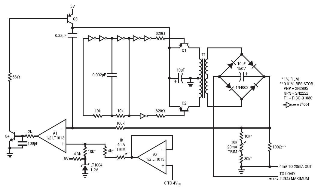 LT1013 4mA to 20mA Loop Transmitter Circuit Collection