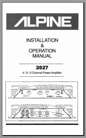 Alpine 3527 Installation & Operation Manual, Analog Alley Manuals
