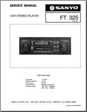 Sanyo FT 325 Service Manual, Analog Alley Manuals